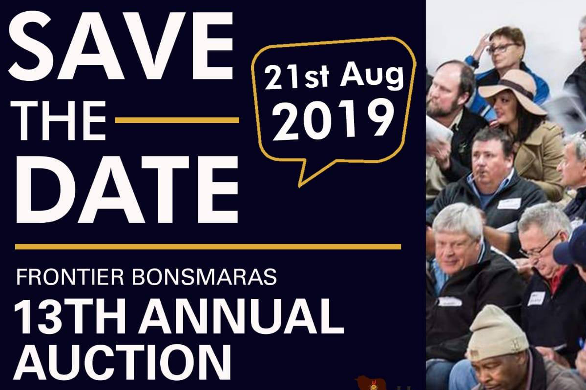 Save The Date - Livestock Auction 21 August 2019 - Frontier Bonsmaras